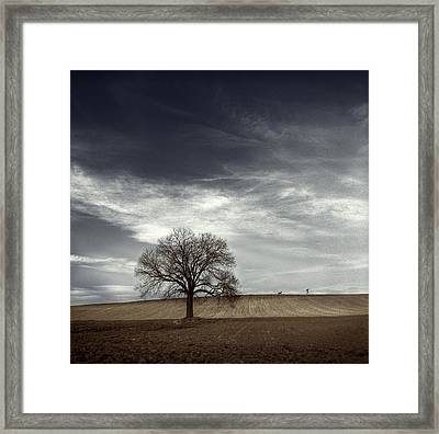 Man Hounded By Dog Framed Print by David Heger