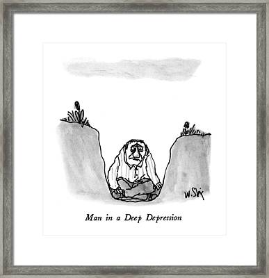 Man In A Deep Depression Framed Print by William Steig