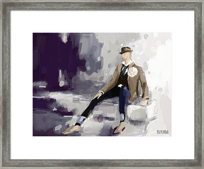 Man In A Fedora Fashion Illustration Art Print Framed Print by Beverly Brown