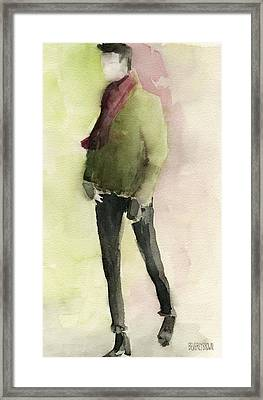Man In A Green Jacket Fashion Illustration Art Print Framed Print by Beverly Brown Prints