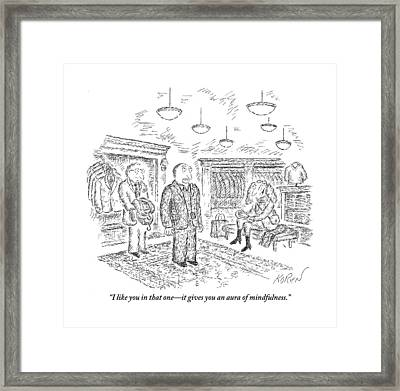 Man In A Men's Clothing Store Being Complimented Framed Print