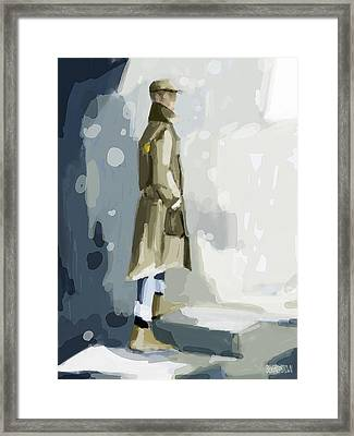Man In A Trench Coat Fashion Illustration Art Print Framed Print by Beverly Brown