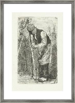 Man In A Vegetable Garden, Bernardus Johannes Blommers Framed Print by Bernardus Johannes Blommers