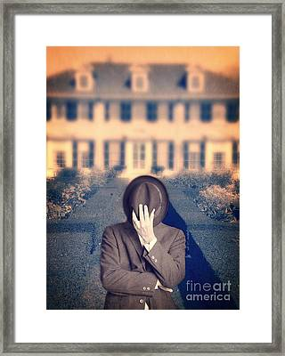 Man In Front Of Mansion  Framed Print by Edward Fielding