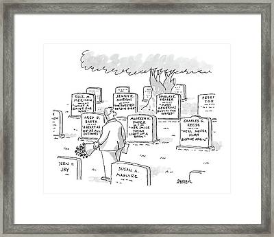 Man In Graveyard Looks At Tombstones Framed Print