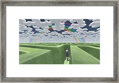 Man In Maze With Puzzle Clouds Framed Print by Bruce Rolff