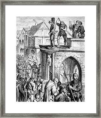 Man In Pillory Framed Print by Bildagentur-online/tschanz