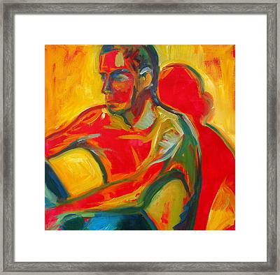Man In Red Framed Print by Magdalena Mirowicz