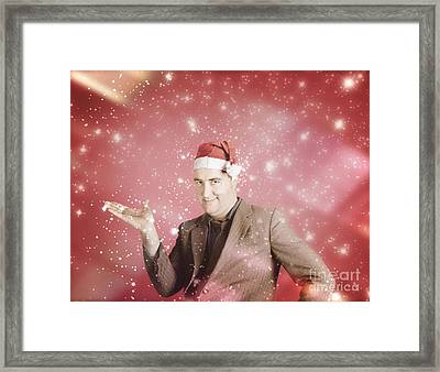 Man In Santa Hat Displaying Christmas Copyspace Framed Print by Jorgo Photography - Wall Art Gallery