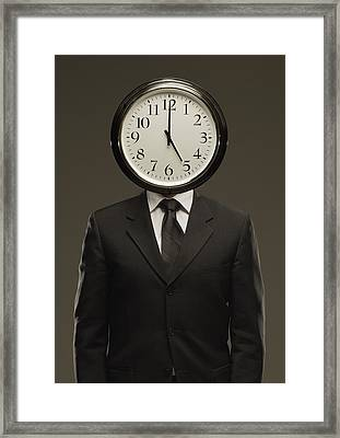 Man In Suit With Clock Face Framed Print by Darren Greenwood