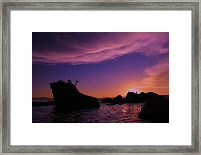 Framed Print featuring the photograph Man In Sun At Bonsai Rock by Sean Sarsfield