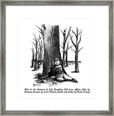Man In The Autumn Of Life Recalling Old Love Framed Print