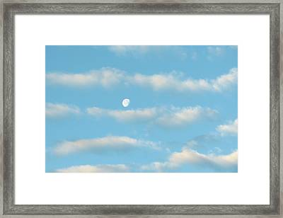 Framed Print featuring the photograph Man In The Moon In The Clouds by Fortunate Findings Shirley Dickerson