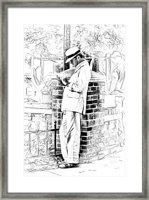 Man In White Framed Print by John Haldane