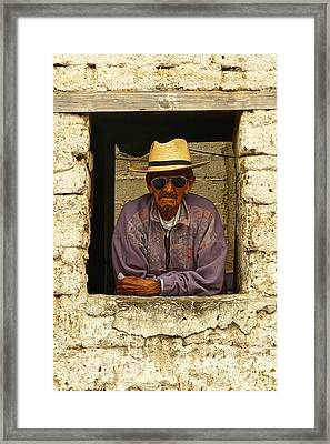 Man In Window P1070304 Framed Print by Eye Browses