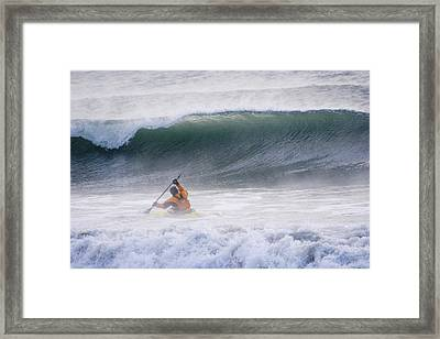 Man Kayak Surfing In Winter Surf Framed Print