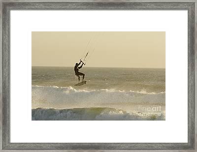 Man Kitesurfing On High Waves Framed Print by Sami Sarkis