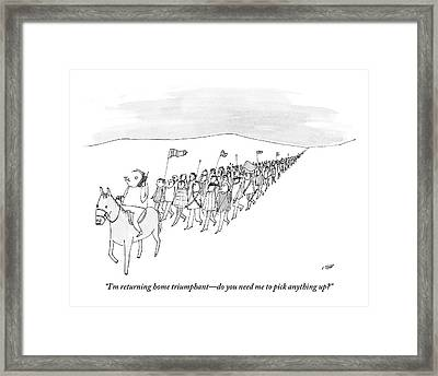 Man Leads An Army From Atop A Horse. He's Framed Print by Edward Steed