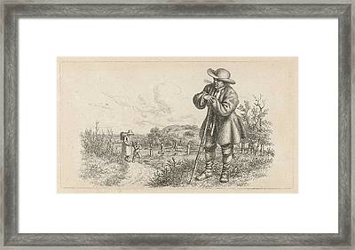 Man Leaning On A Stick And A Woman With A Child Framed Print by Artokoloro