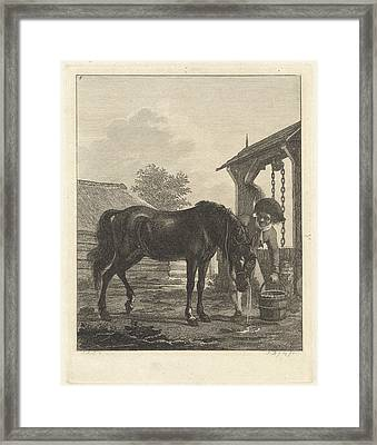 Man Lets A Horse Drink From A Bucket, Joannes Bemme Framed Print