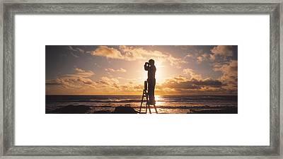 Man Looking Through Binoculars In Framed Print by Panoramic Images