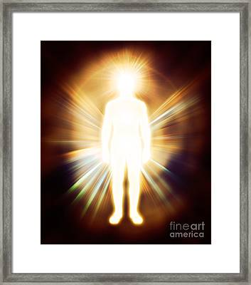 Man Luminous Ethereal Body Qi Energy Framed Print
