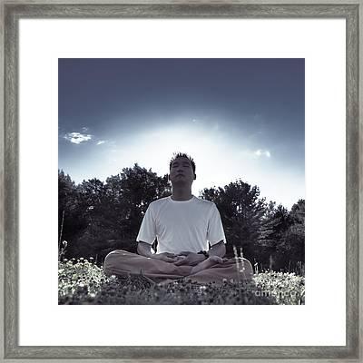 Man Meditating In The Nature During Sunrise Framed Print by Oleksiy Maksymenko