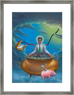 Man Meditating On Pot Of Gold - Time - Art - Illustration - Money - Wallstreet  Framed Print by Walt Curlee