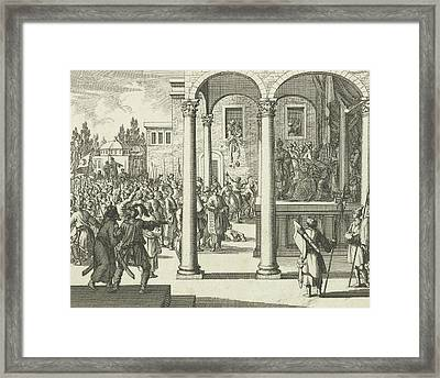 Man Negotiates On Throne With The Leaders Of The Rebellious Framed Print by Jan Luyken And Charles Angot