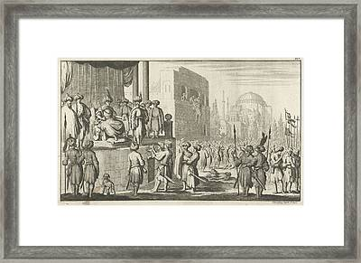 Man Negotiates On Throne With The Leaders Of The Rebellious Framed Print by Jan Luyken