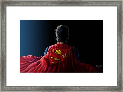 Framed Print featuring the digital art Man Of Steel - Superman by Anthony Mwangi