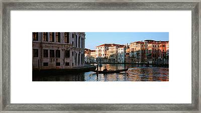 Man On A Gondola In A Canal, Grand Framed Print by Panoramic Images