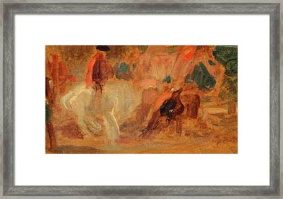 Man On A White Horse, Unknown Artist, 19th Century Framed Print by Litz Collection
