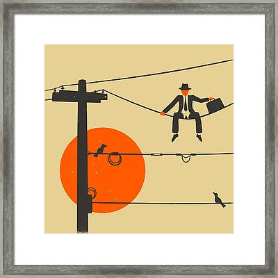 Man On A Wire Framed Print by Jazzberry Blue