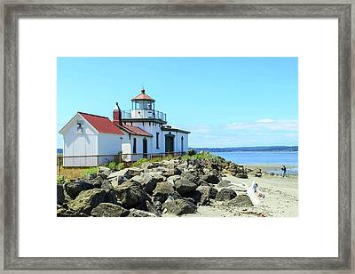 Man On Beach, West Point Lighthouse Framed Print by Stuart Westmorland