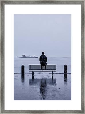 Man On Bench Framed Print by Joana Kruse