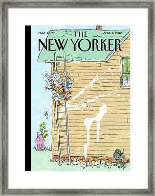 Man On Ladder Painting House Making A Mess Framed Print