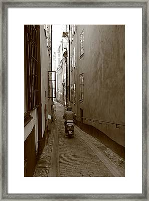 Man On Motor Scooter In A Narrow Alley - Monochrome Framed Print by Ulrich Kunst And Bettina Scheidulin
