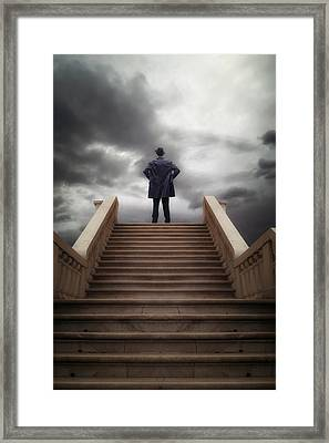 Man On Stairs Framed Print
