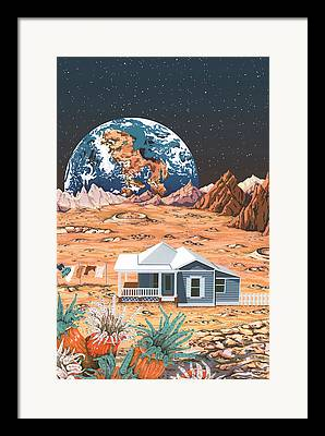 Moonscape Drawings Framed Prints