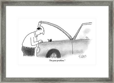 Man Opens The Hood Of His Car Framed Print