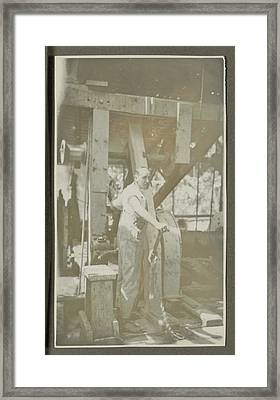 Man Operating A Machine With A Lever Framed Print by Artokoloro