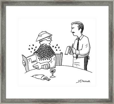 Man Ordering At A Restaurant Framed Print