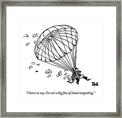 Man Parachuting While Working On His Laptop Framed Print