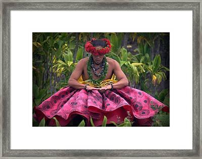 Man Performing Ancient Hula Framed Print