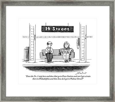 Man Pestering A Woman Who Is Sitting Next Framed Print by Joe Dator