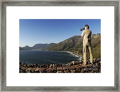 Man Photographing Hout Bay Framed Print by Sami Sarkis