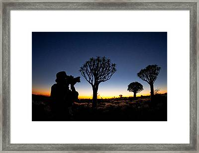 Man Photographing In Quiver Tree Forest Framed Print