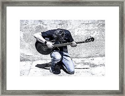 Man Playing Acoustic Guitar Kneeling Outside Framed Print