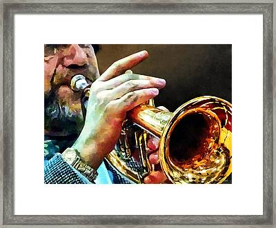 Man Playing Trumpet Framed Print by Susan Savad